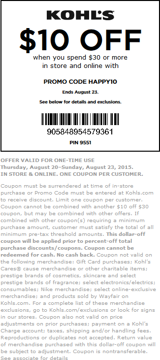Kohls Coupon February 2019 $10 off $30 at Kohls, or online via promo code HAPPY10