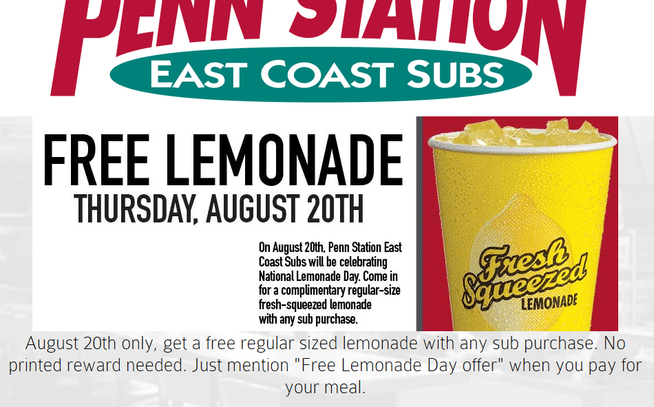 Penn Station Coupon June 2017 Free lemonade today at Penn Station subs