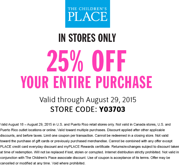 The Childrens Place Coupon May 2019 25% off everything at The Childrens Place
