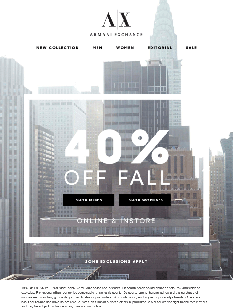 Armani Exchange Coupon April 2017 40% off Fall styles at Armani Exchange, ditto online