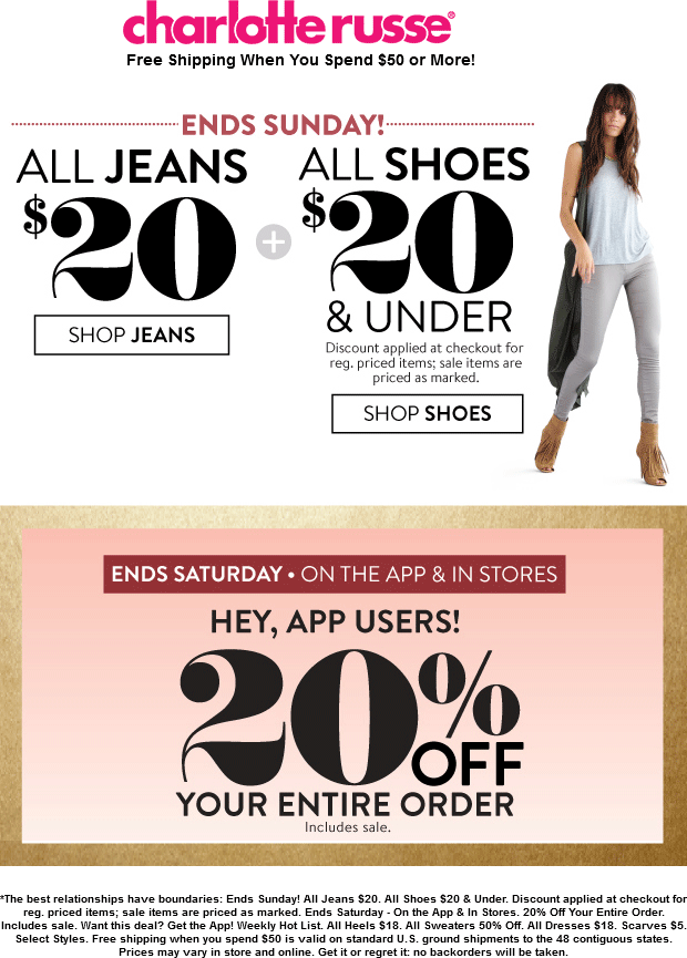 Charlotte Russe Coupon April 2018 Extra 20% off everything at Charlotte Russe