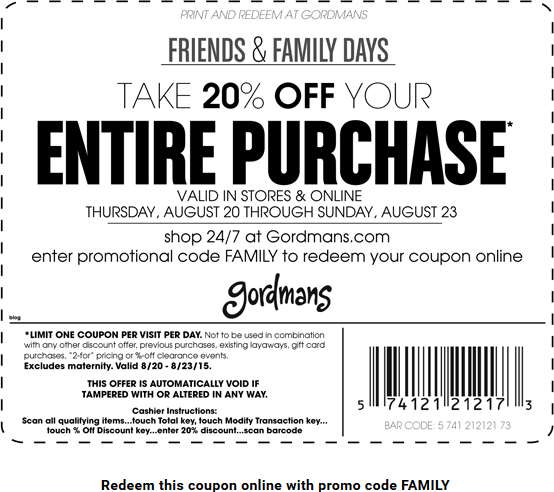 Gordmans Coupon February 2019 20% off everything at Gordmans, or online via promo code FAMILY