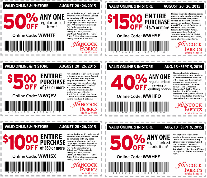 Hancock Fabrics Coupon September 2018 50% off a single item & more at Hancock Fabrics, or online via promo code WWHTF