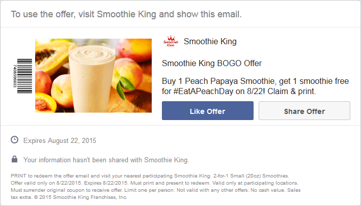 SmoothieKing.com Promo Coupon Second peach smoothie free Saturday at Smoothie King