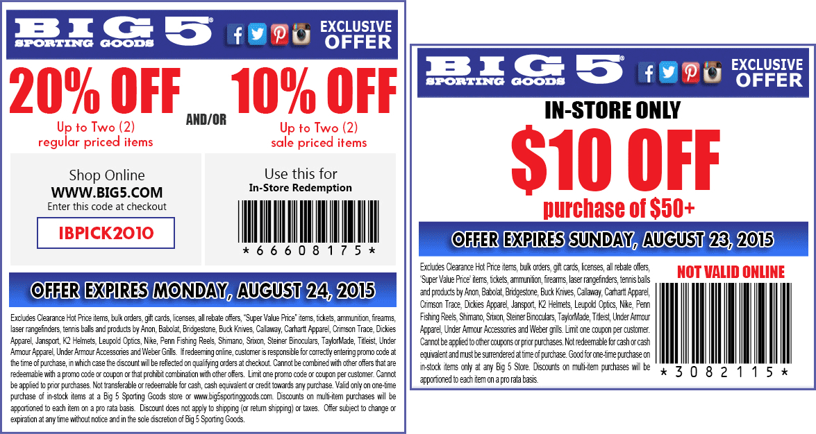 Big 5 Coupon December 2017 20% off a couple items at Big 5 sporting goods, or online via promo code IBPICK2010