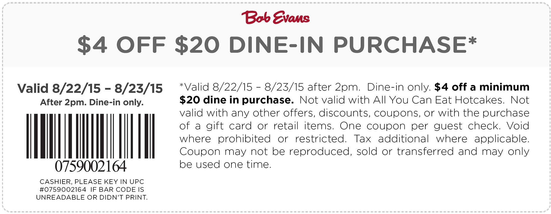 Bob Evans Coupon January 2017 $4 off $20 at Bob Evans restaurants