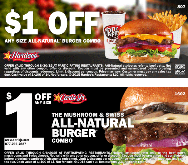 Hardees Coupon January 2018 Shave a buck off your burger meal at Hardees & Carls Jr