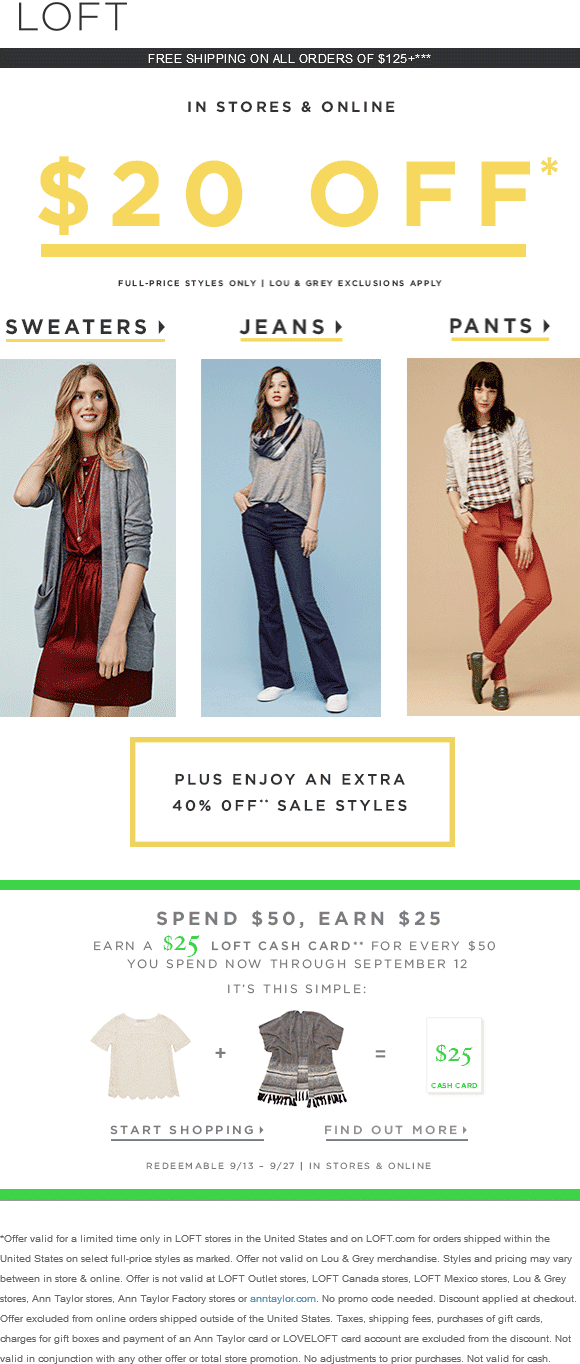 LOFT Coupon March 2017 Extra 40% off sale items & more at LOFT, ditto online