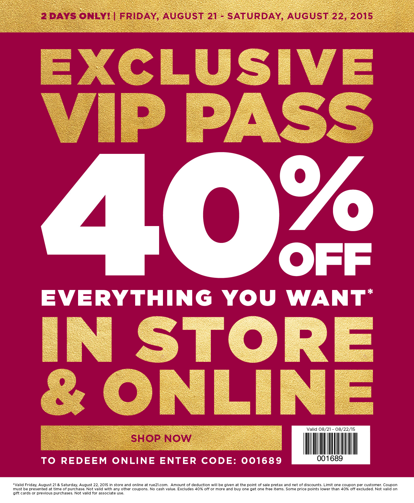 Rue21 Coupon February 2019 40% off everything today at rue21, or online via promo code 001689