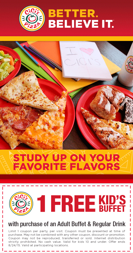 CiCis Pizza Coupon March 2018 Kids buffet free with yours at CiCis Pizza