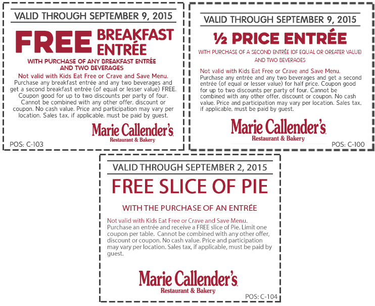 Marie Callenders Coupon November 2017 Second breakfast free, 50% off second entree & free pie at Marie Callenders