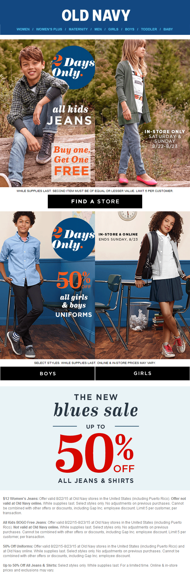 Old Navy Coupon October 2018 Second kids jeans free today at Old Navy