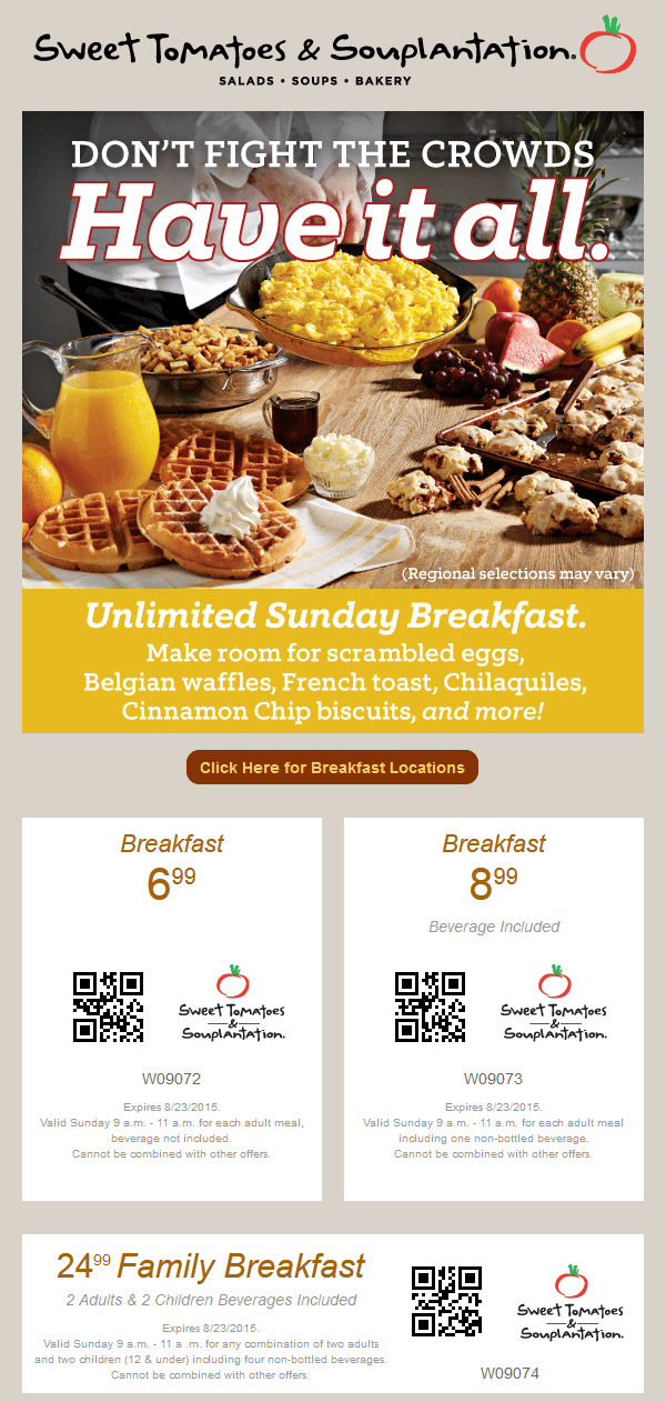 Sweet Tomatoes Coupon October 2017 $7 breakfast buffet at Sweet Tomatoes & Souplantation