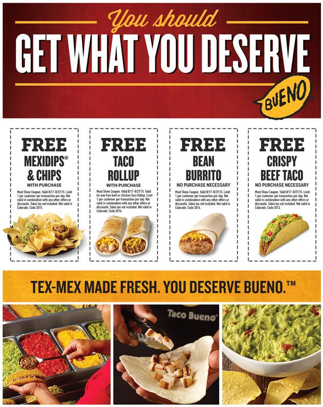 Taco Bueno Coupon January 2017 Free taco, burrito & more at Taco Bueno - no purchase necessary