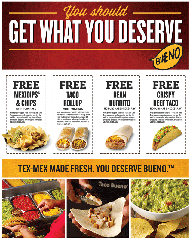 Taco Bueno Coupon October 2018 Free taco, burrito & more at Taco Bueno - no purchase necessary