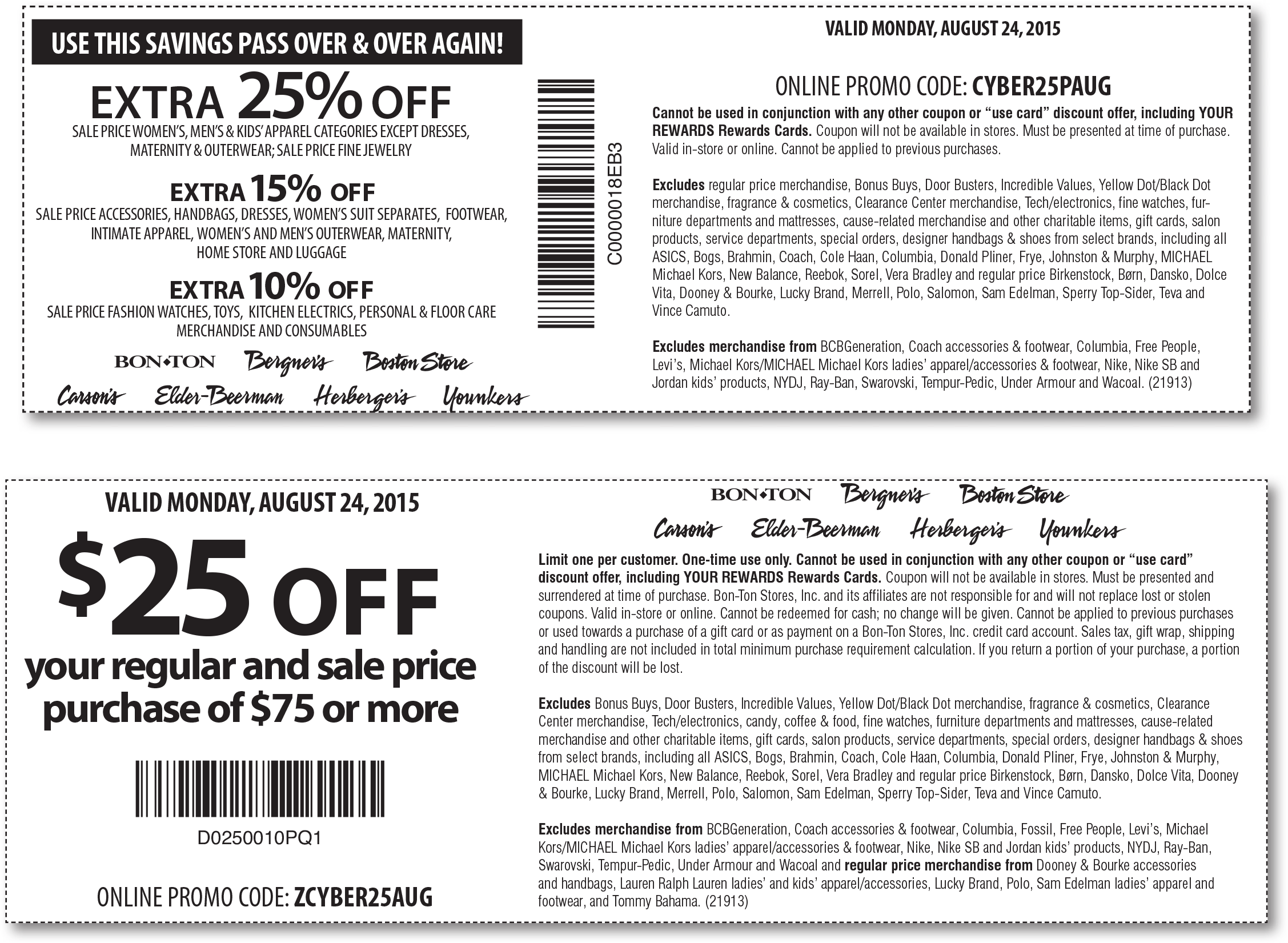 Carsons Coupon December 2016 $25 off $75 & more today at Carsons, Bon Ton & sister stores, or online via promo code ZCYBER25AUG