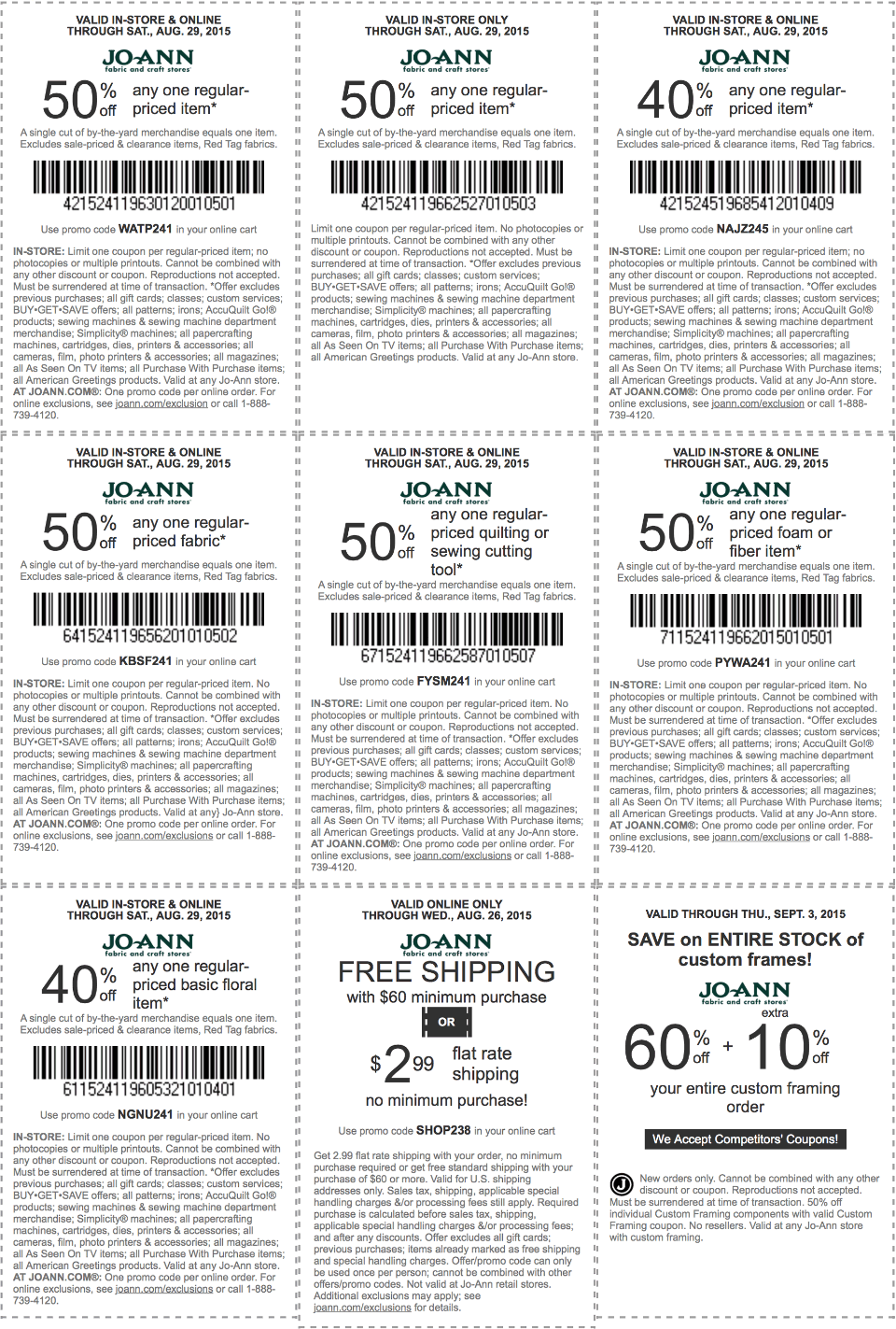 Jo-Ann Fabric Coupon June 2018 50% off a single item & more at Jo-Ann Fabric, or online via promo code WATP241