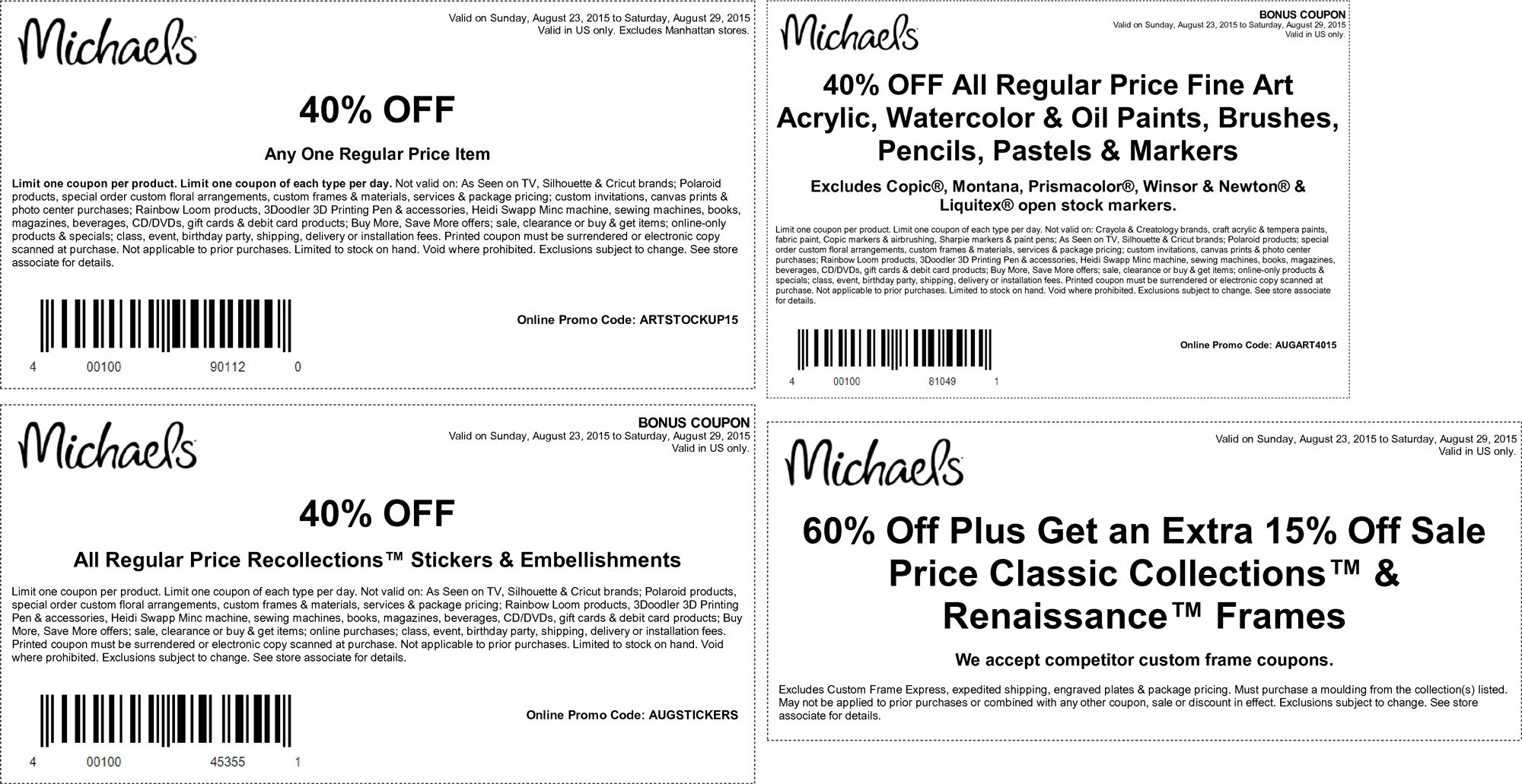 Michaels Coupon January 2017 40% off a single item & more at Michaels, or online via promo code ARTSTOCKUP15