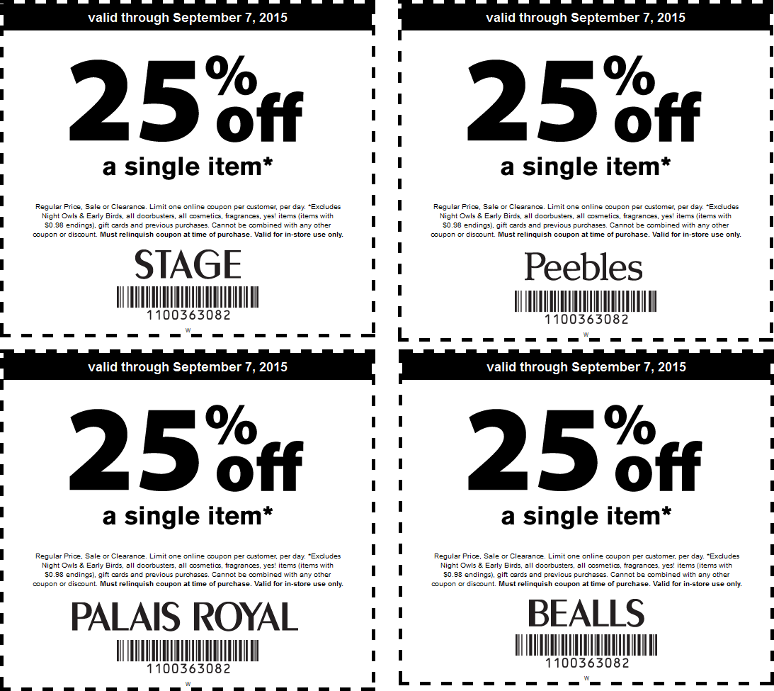 Bealls Coupon November 2017 25% off a single item at Bealls, Peebles, Palais Royal & Stage stores