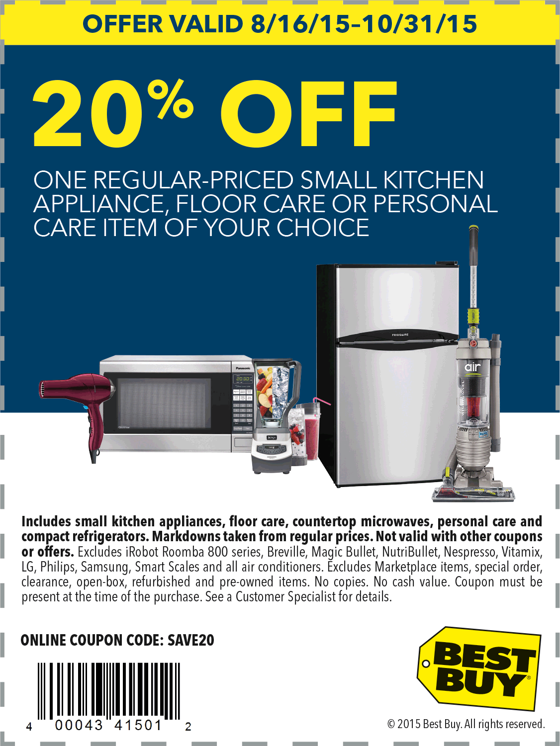 Best Buy Coupon February 2019 20% off a single appliance at Best Buy, or online via promo code SAVE20