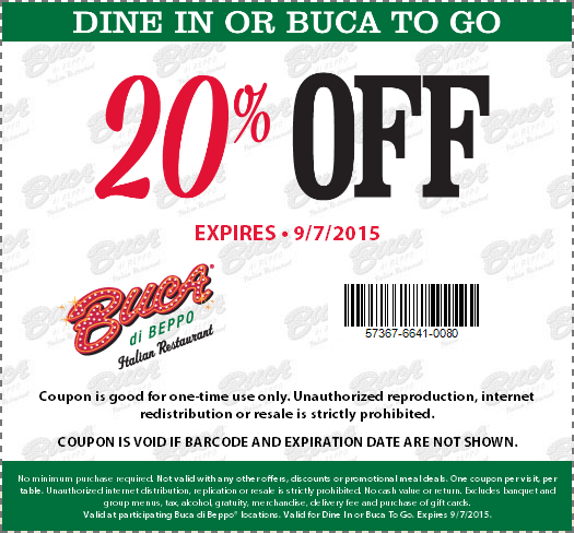 Buca di Beppo Coupon July 2017 20% off at Buca di Beppo Italian restaurants