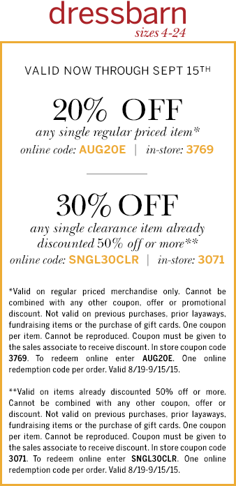 Dressbarn Coupon April 2018 20-30% off a single item at Dressbarn, or online via promo code AUG20E