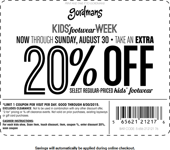 Gordmans Coupon January 2018 Extra 20% off kids footwear at Gordmans, ditto online