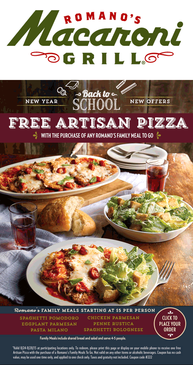 Macaroni Grill Coupon July 2017 Free pizza with your takeout family meal at Macaroni Grill