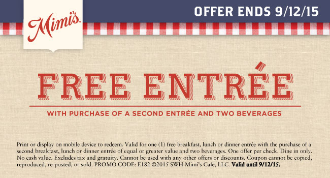 Mimis Cafe Coupon July 2018 Second entree free at Mimis Cafe