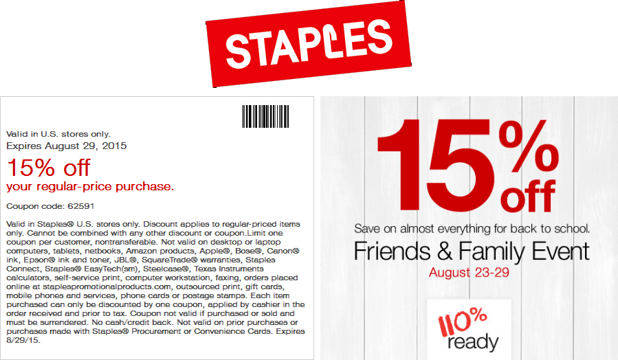Staples Coupon February 2018 15% off at Staples