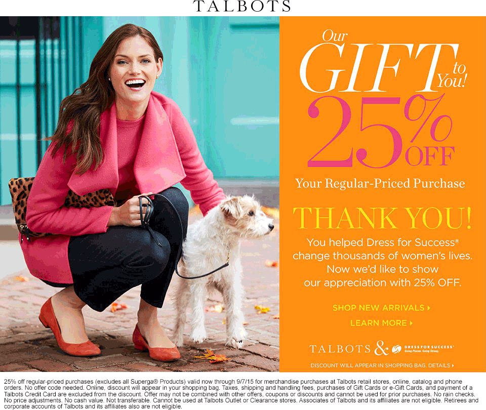 Talbots Coupon July 2018 25% off at Talbots, ditto online