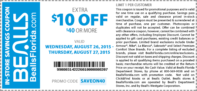 Bealls Coupon July 2017 Extra $10 off $40 at Bealls, or online via promo code SAVEON40