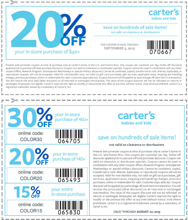 Carters Coupon February 2017 20% off $40 at Carters, or online via promo code COLOR20