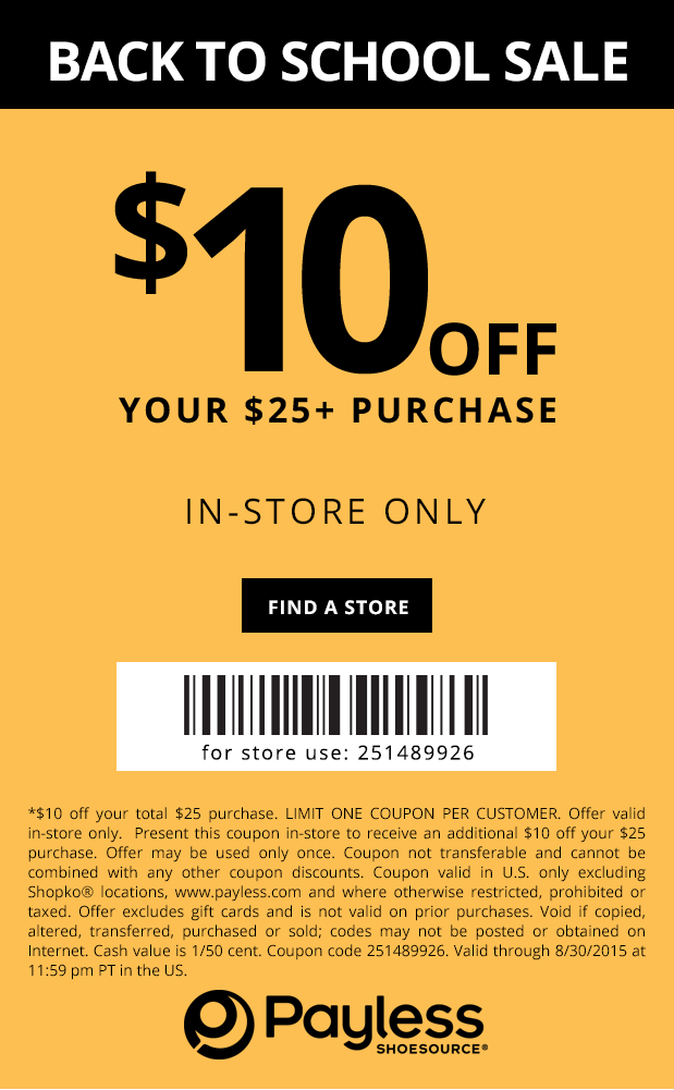 Payless Shoesource Coupon April 2017 $10 off $25 at Payless Shoesource