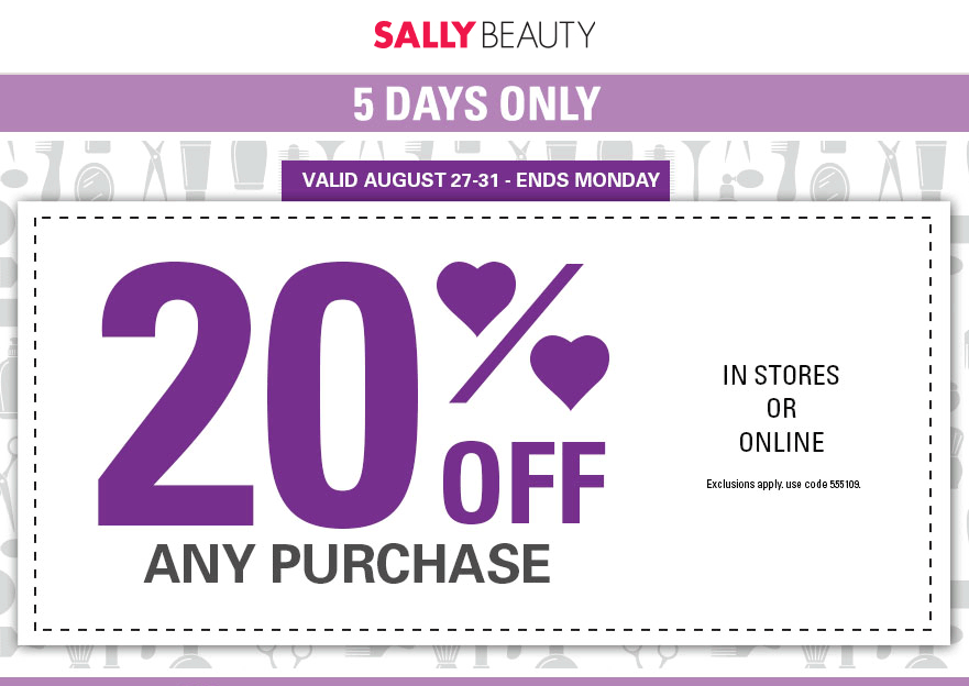 Sally Beauty Coupon June 2017 20% off at Sally Beauty, or online via promo code 555109