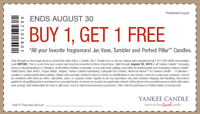 Yankee Candle Coupon January 2017 Second candle free at Yankee Candle, or online via promo code WITCH2