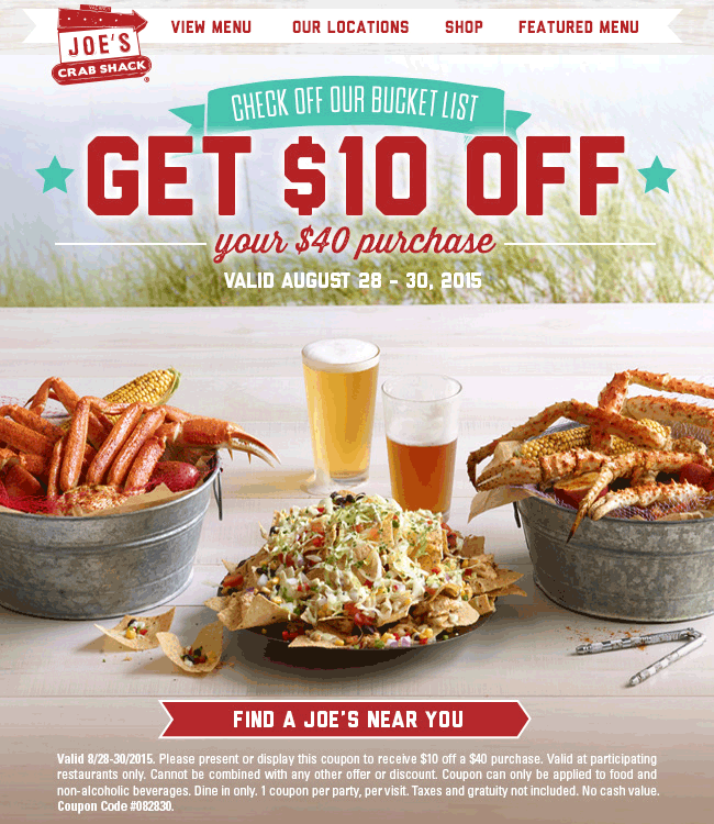 Joes Crab Shack Coupon May 2018 $10 off $40 at Joes Crab Shack