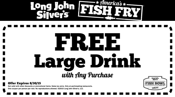 Long John Silvers Coupon February 2018 Free large drink with your order at Long John Silvers