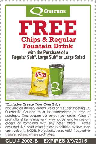 Quiznos Coupon October 2016 Chips & drink free with your sub at Quiznos