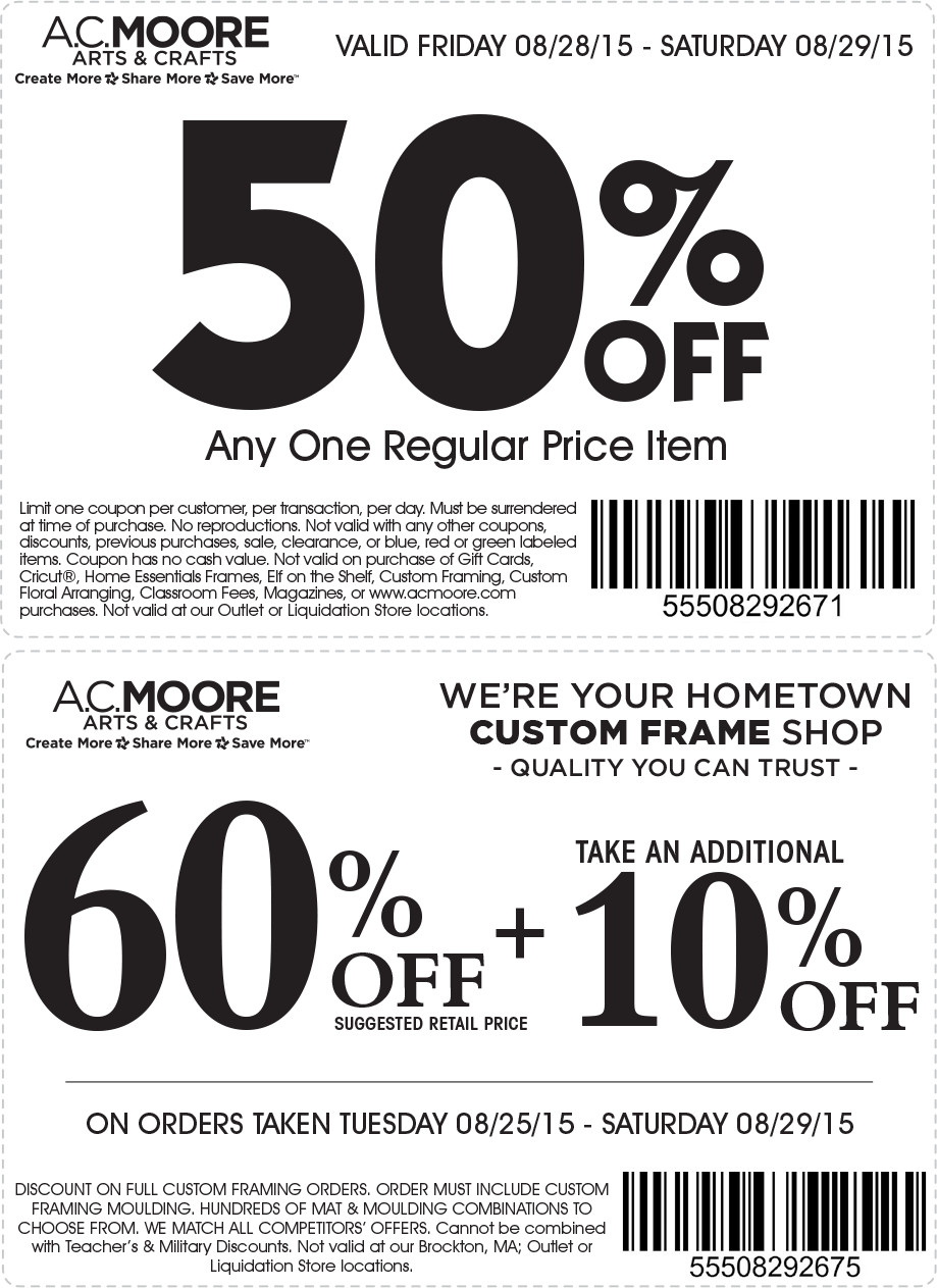 A.C. Moore Coupon July 2018 50% off a single item today at A.C. Moore crafts