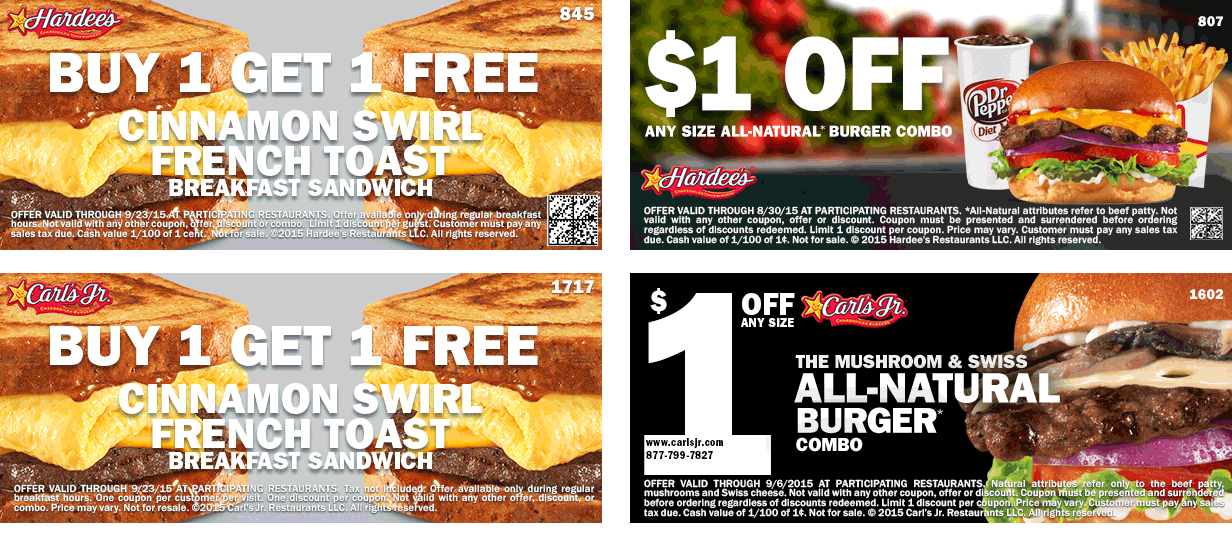 Hardees & Carls Jr. Coupon January 2018 Second cinnamon french toast sandwich free at Hardees & Carls Jr