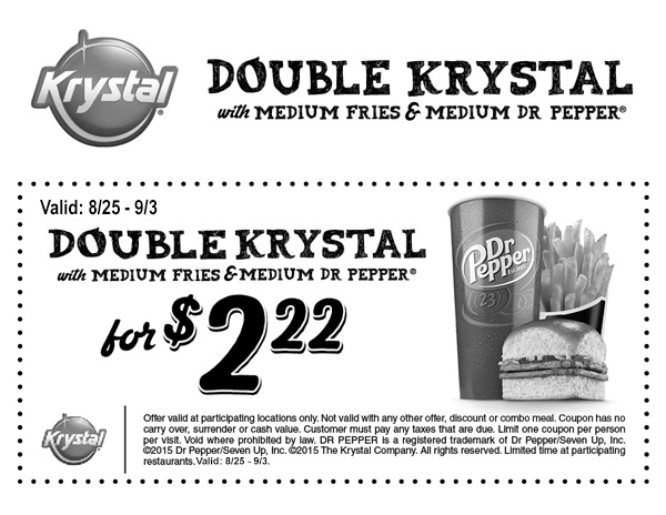 Krystal Coupon June 2017 Double burger + medium fries + drink just $2.22 at Krystal restaurants