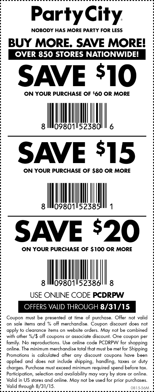 Party City Coupon March 2017 $10 off $60 at Party City, or online via promo code PCDRPW