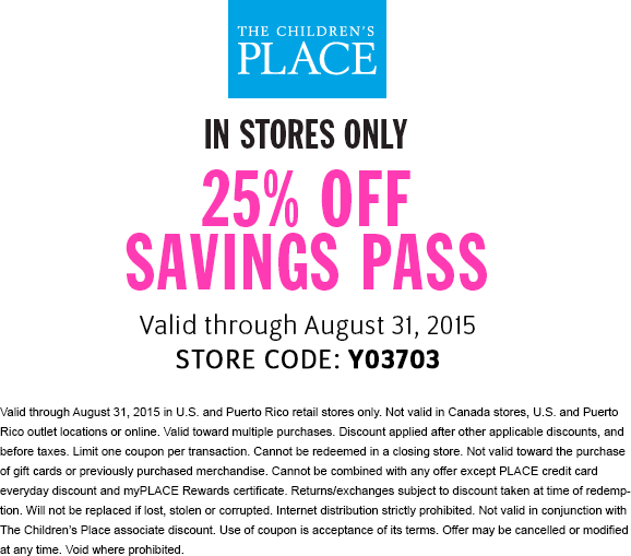 The Childrens Place Coupon April 2017 25% off at The Childrens Place