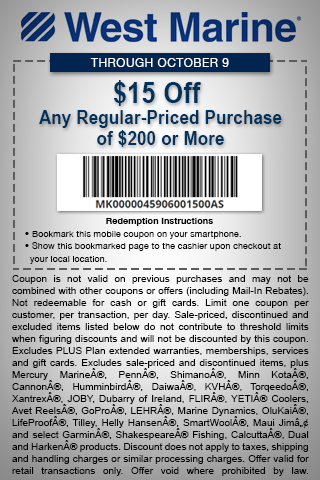 West Marine Coupon June 2018 $15 off $200 at West Marine boat supplies