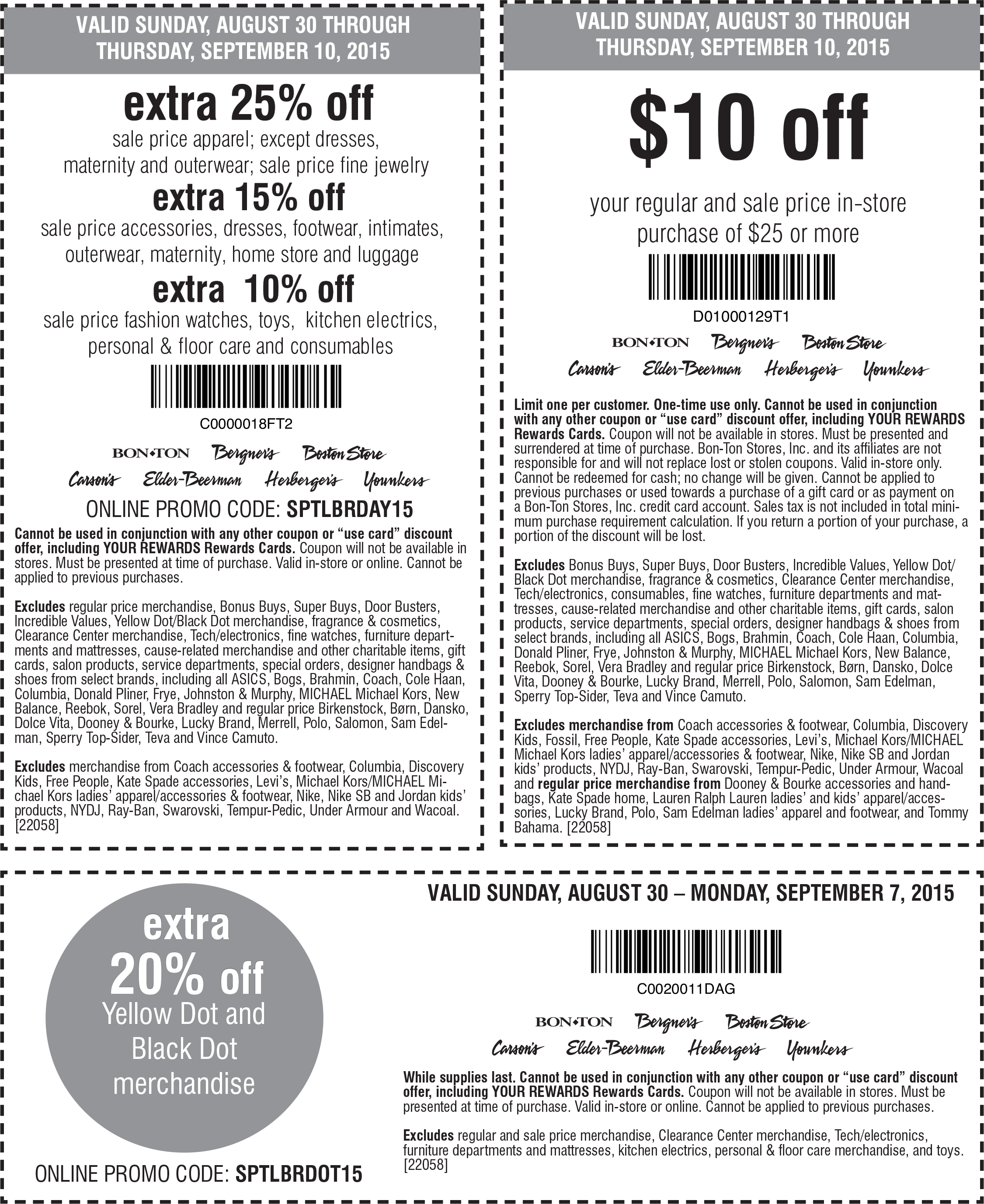 Bon Ton Coupon July 2018 Extra 25% off sale items & more at Carsons, Bon Ton & sisters stores, or online via promo code SPTLBRDAY15