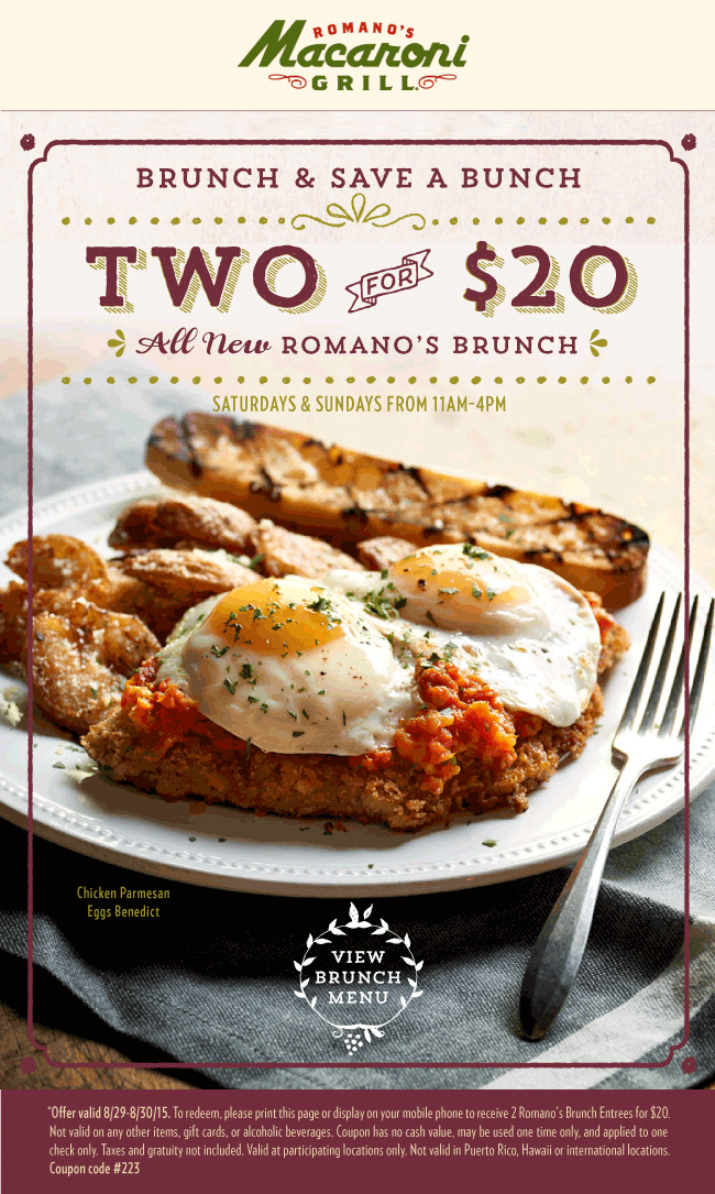Macaroni Grill Coupon January 2018 Two brunches for $20 today at Romanos Macaroni Grill