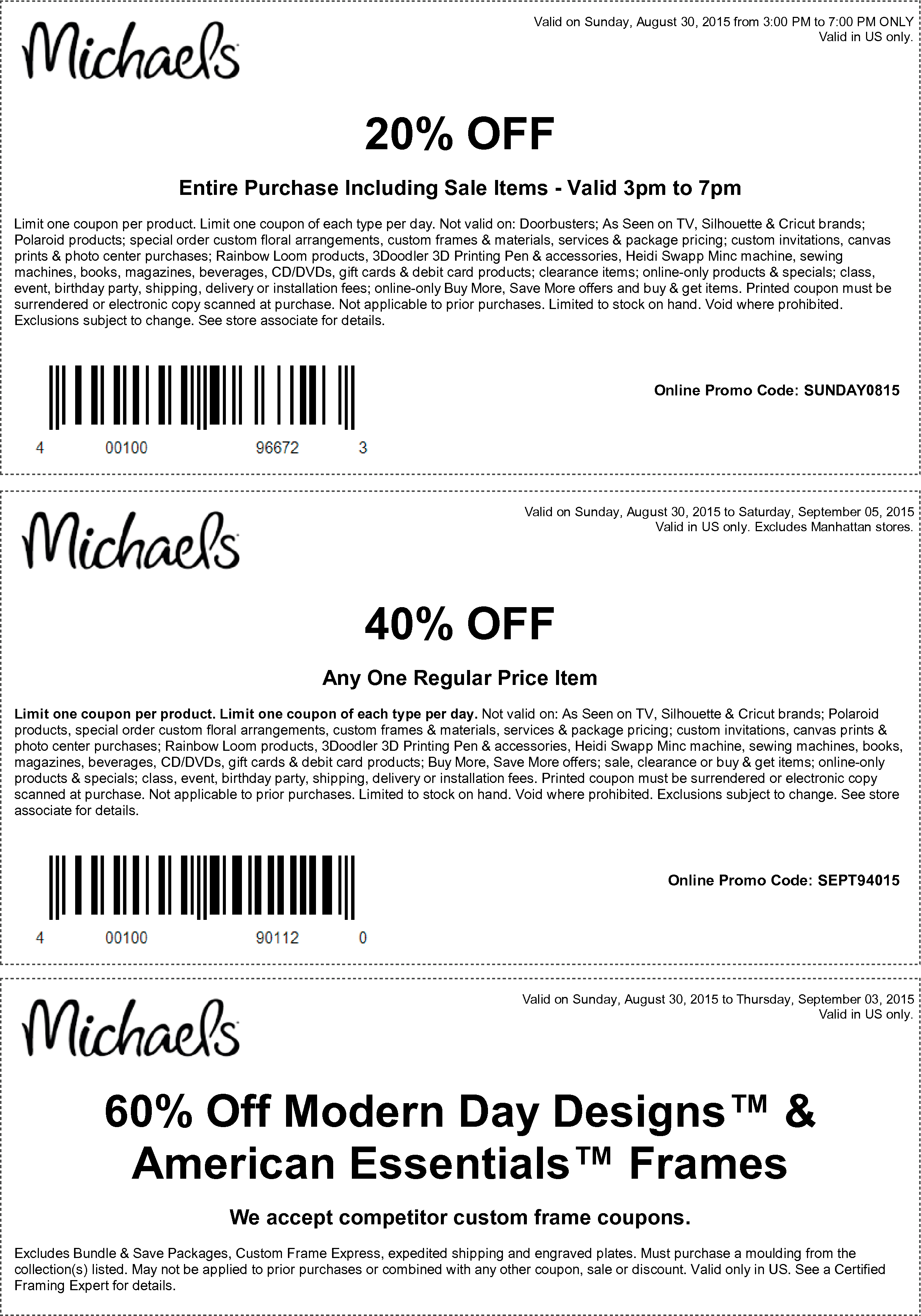 Michaels Coupon November 2018 20% off everything Sunday, or 40% off a single item at Michaels, or online via promo code SEPT94015