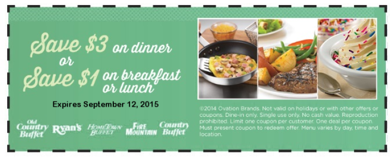 Old Country Buffet Coupon July 2018 $3 off dinner at Old Country Buffet, Ryans, Hometown Buffet & Fire Mountain restaurants