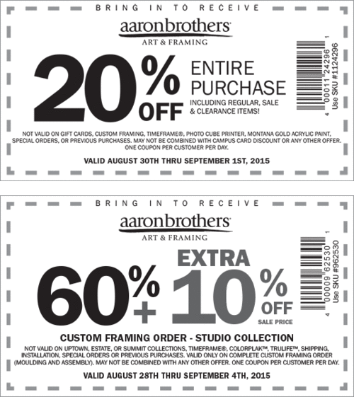 Aaron Brothers Coupon March 2018 20% off everything & more at Aaron Brothers art & framing